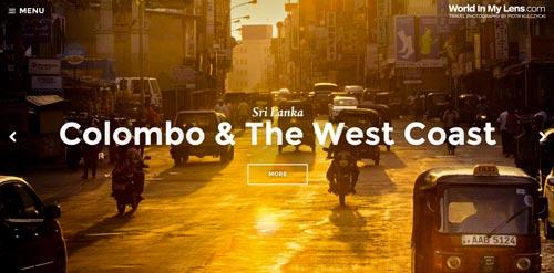 Ejemplo de tendencias actuales en el diseño de sitios web: Los botones fantasma de World in my lens