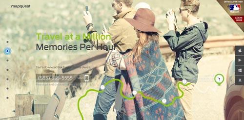 Ejemplo de tendencias actuales en el diseño de sitios web: Las fotografías en gran tamaño de MapQuest
