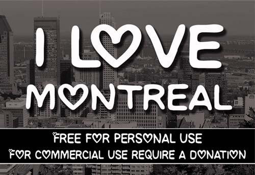 Tipografias gratis para tus proyectos de San Valentín: CF I love Montreal