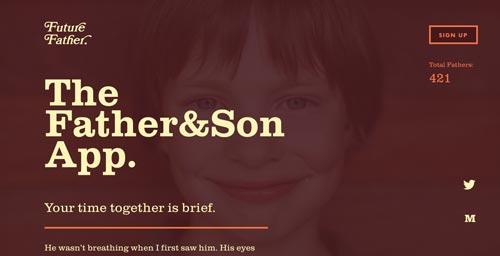 Ejemplos de paginas web que hacen uso de tipografía serif: Future Father