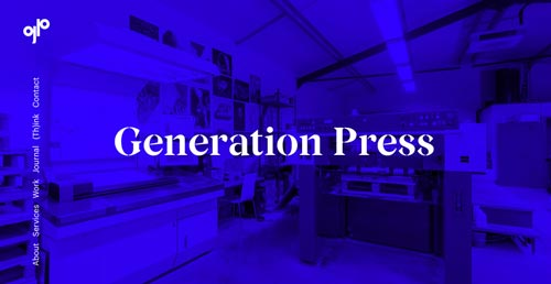 Ejemplos de paginas web que hacen uso de tipografía serif: Generation Press