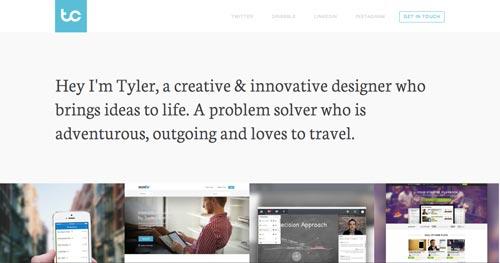 Ejemplos de paginas web que hacen uso de tipografía serif: Tyler Copeland