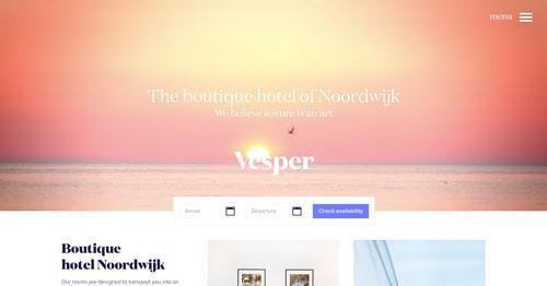 Ejemplos de paginas web que hacen uso de tipografía serif: Vesper Hotel Nooordwijk
