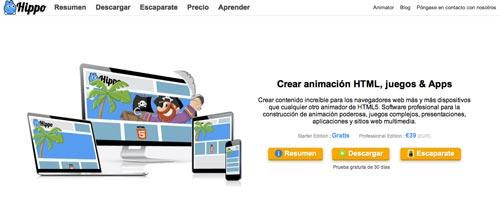 Herramientas para crear animaciones HTML5: Hippo Studios