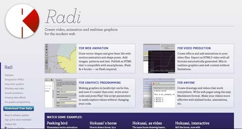 Herramientas para crear animaciones HTML5: Radi