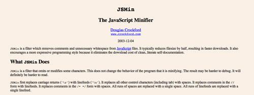 Herramientas para comprimir codigo JavaScript: JSMin