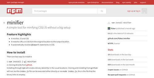 Herramientas para comprimir codigo JavaScript: Minifier