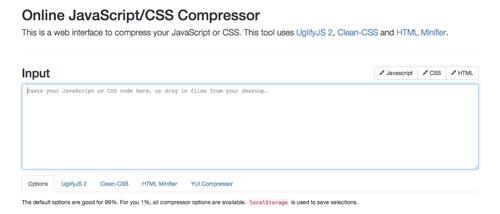 Herramientas para comprimir codigo JavaScript: Online JavaScript/CSS Compressor