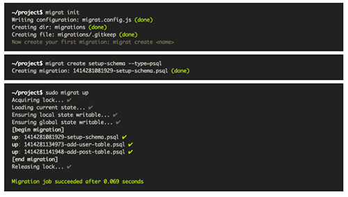 Herramientas útiles para el entorno de programacion Node.js: Migrat