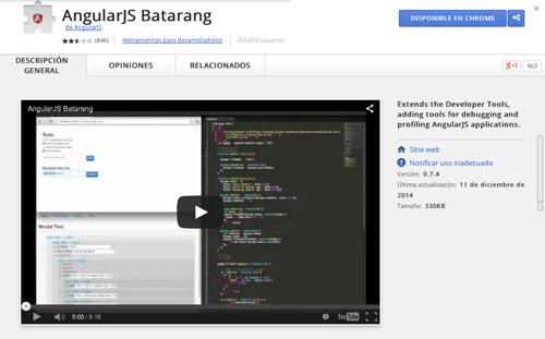 Herramientas útiles para la framework JavaScript AngularJS: AngularJS Batarang