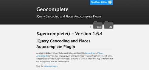 Librerías de JavaScript plugin para crear mapas interactivos: Geocomplete