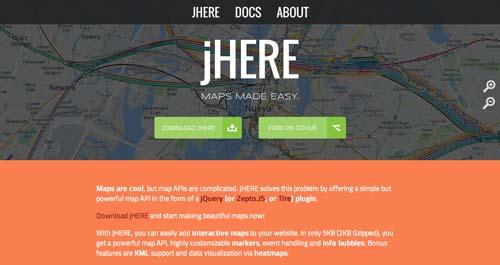 Librerías de JavaScript plugin para crear mapas interactivos: jHere