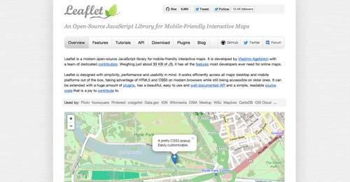 Librerías de JavaScript plugin para crear mapas interactivos: Leaflet