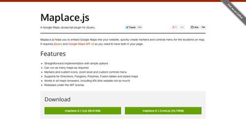 Librerías de JavaScript plugin para crear mapas interactivos: Maplace.js