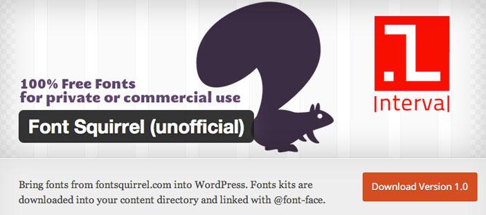 Plugin WordPress para extender y mejorar librería de fuentes: Font Squirrel