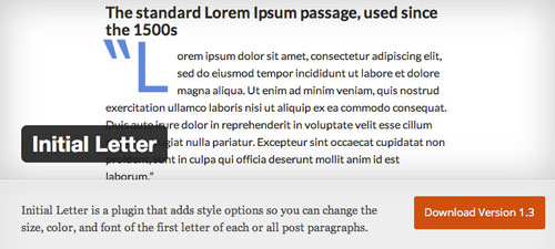 Plugin WordPress para extender y mejorar librería de fuentes: Initial Letter