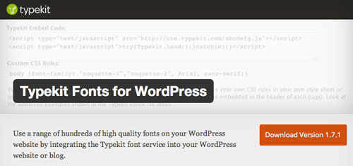 Plugin WordPress para extender y mejorar librería de fuentes: Typekit Fonts for WordPress
