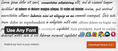 Plugin WordPress para extender y mejorar librería de fuentes: Use Any Font