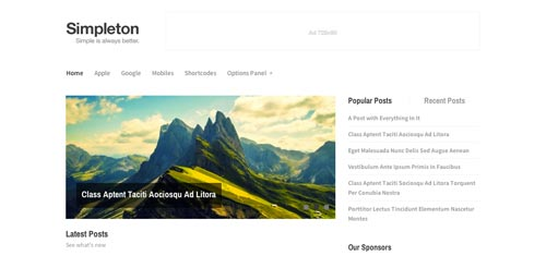 Temas WordPress de estética minimalista: Simpleton
