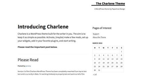 Temas WordPress gratuitos que siguen las tendencias de diseño actuales: Charlene