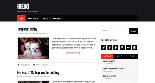 Temas WordPress gratuito que siguen las tendencias de diseño actuales: Hiero