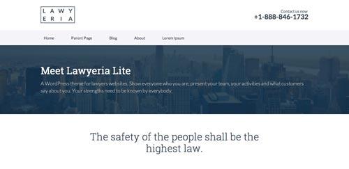 Temas WordPress gratuito que siguen las tendencias de diseño actuales: Lawyeria Lite