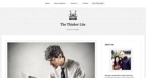 Temas WordPress gratuitos que siguen las tendencias de diseño actuales: The Thinker Lite
