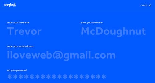 Ejemplos de formulario web para página de registro: Oozled