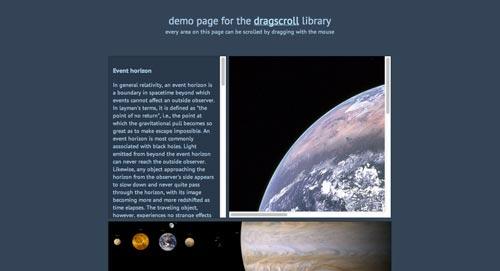Librerías de codigo javascript para añadir efectos de scrolling: Dragscroll