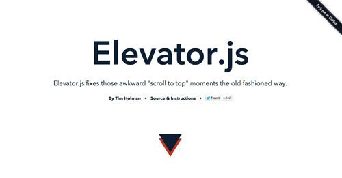 Librerías de codigo javascript para añadir efectos de scrolling: Elevator.js