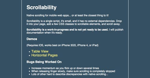 Librerías de codigo javascript para añadir efectos de scrolling: Scrollability