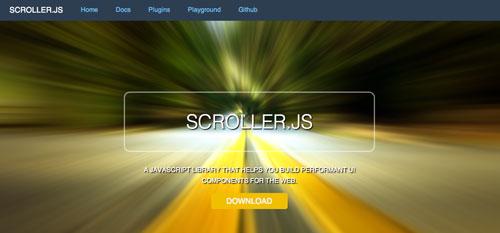 Librerías de codigo javascript para añadir efectos de scrolling: Scroller.js