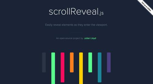 Librerías de codigo javascript para añadir efectos de scrolling: scrollReveal.js
