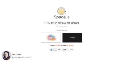 Librerías de codigo javascript para añadir efectos de scrolling: Space.js
