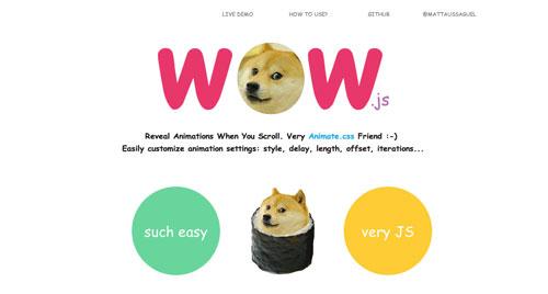 Librerías de codigo javascript para añadir efectos de scrolling: WOW.js