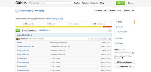 Librerías de Javascript plugin para animar gráficos SVG: Velocity