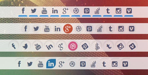Plugin jQuery para añadir botones de redes sociales: 9 styles of Special Animated Social Media Icons