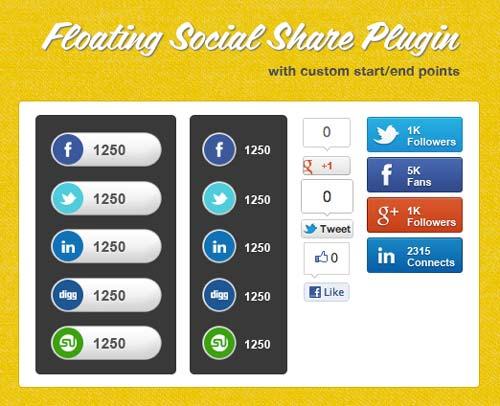 Plugin jQuery para añadir botones de redes sociales: Floating Social Share Plugin