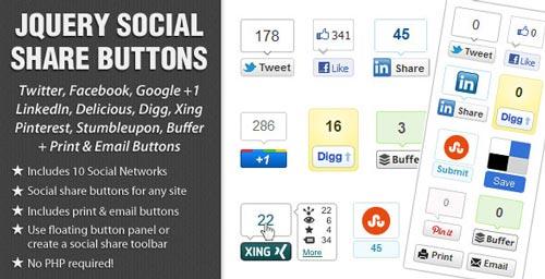 Plugin jQuery para añadir botones de redes sociales: jQuery Social Share Buttons