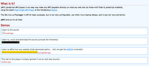 Plugin Jquery para reproducir audio en tu sitio: jMP3