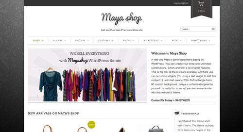 Temas WordPress de pago para tiendas online: Maya Shop