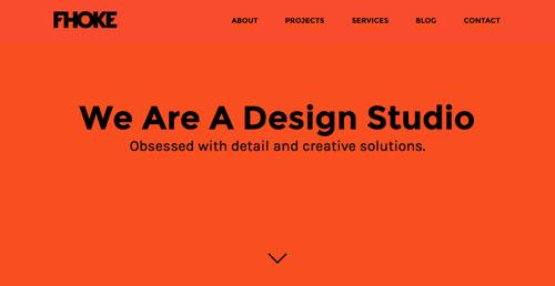 Ejemplos de páginas web con un buen diseño flat: Fhoke