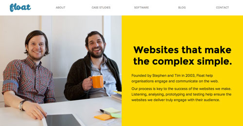 Ejemplos de páginas web con un buen diseño flat: Float