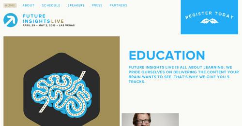 Ejemplos de páginas web con un buen diseño flat: Future Insights Live