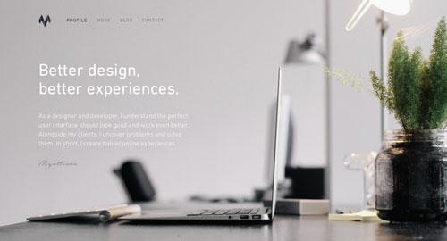 Ejemplos de páginas web con un buen diseño flat: Ivo Mynttinen