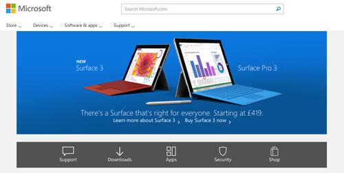 Ejemplos de páginas web con un buen diseño flat: Microsoft
