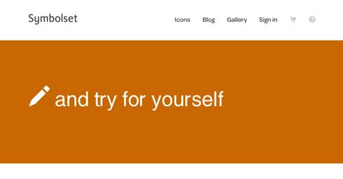 Ejemplos de páginas web con un buen diseño flat: Symbolset