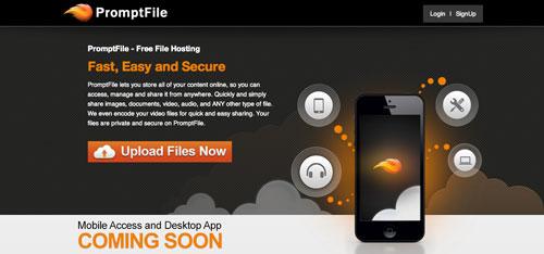 Servicios de almacenamiento en la nube gratuito: PromptFile