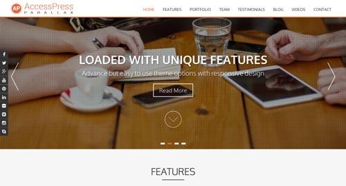 Temas WordPress gratuitos con efecto parallax: AccessPress Parallax