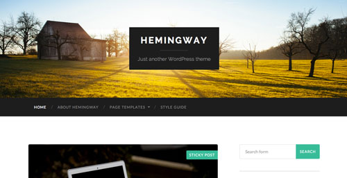 Temas WordPress gratuitos con efecto parallax: Hemingway